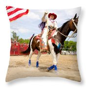 Flag Lady Throw Pillow