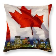 Flag Of Canada Over Albertas Capital Throw Pillow