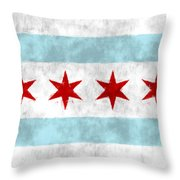 Flag Of Chicago Throw Pillow