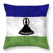 Flag Of Lesotho Throw Pillow