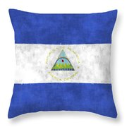 Flag Of Nicaragua Throw Pillow