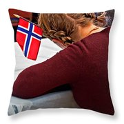 Flag Of Norway In Girls' Braided Hair Art Prints Throw Pillow