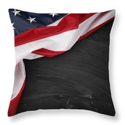 Flag On Blackboard Throw Pillow by Les Cunliffe