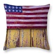 Flag On Old Yellow Door Throw Pillow