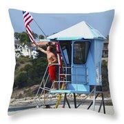 Flag Waving Lifeguard Throw Pillow