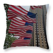 Flags At Rokefeller Plaza Throw Pillow