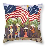 Flags Throw Pillow by Linda Mears