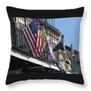 Flags On Bourbon Street Throw Pillow