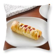 Flaky Pastry With Cherry Jam Throw Pillow