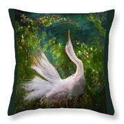 Flamboyant Egret Throw Pillow