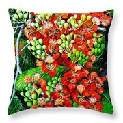 Flamboyant In Bloom Throw Pillow by Karin  Dawn Kelshall- Best