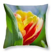 Flame Leaf Tulip Throw Pillow