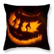 Flame Pumpkin Side Throw Pillow