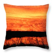 Flamed Sunset Throw Pillow
