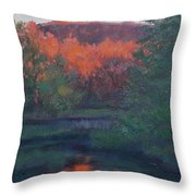 Flames Of Fall At Catfish Corner Throw Pillow