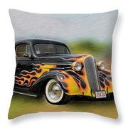 Flames On Wheels Throw Pillow