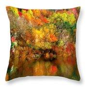 Flaming Autumn Abstract Throw Pillow