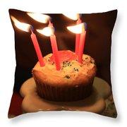 Flaming Birthday Cupcake Closeup Throw Pillow by Robert D  Brozek