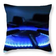 Flaming Blue Gas Stove Burner Throw Pillow