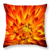 Flaming Dahlia - Paintography Throw Pillow