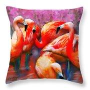 Flaming Flamingos Throw Pillow