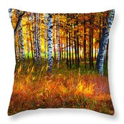 Flaming Grass Throw Pillow