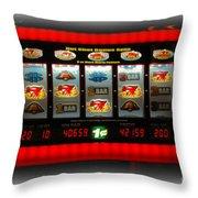Flaming Sevens Slots Throw Pillow
