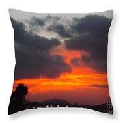 Flaming Sunrise Throw Pillow