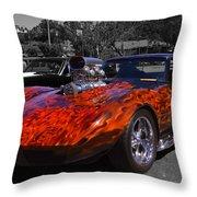 Flaming Vette Throw Pillow