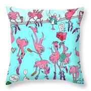 Flamingo A Go Go Throw Pillow