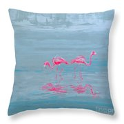 Flamingo Couple In Shallow Waters Throw Pillow