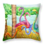 Flamingo Dingos Throw Pillow