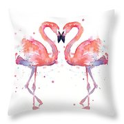 Flamingo Love Watercolor Throw Pillow