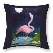 Flamingo Moon Frog Cathy Peek Tropical Bird Throw Pillow