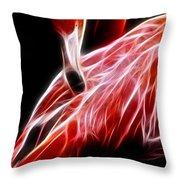 Flamingo Portrait Fractal Throw Pillow