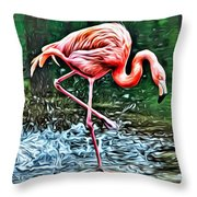 Flamingo Splash Two Throw Pillow