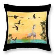 Flamingo Sunset Silhouette Cathy Peek Tropical Birds  Throw Pillow