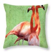 Flamingo Twist Throw Pillow by Jeff Kolker