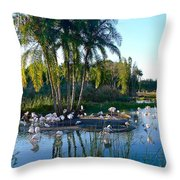 Flamingo Watering Hole Throw Pillow