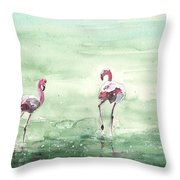 Flamingos In Camargue 02 Throw Pillow