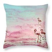 Flamingos In Camargue 03 Throw Pillow
