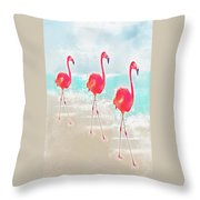 Flamingos On The Beach Throw Pillow