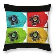 Flanders Poppy Pop Art Throw Pillow