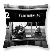 Blues Guitarist Heading To Flatbush  Throw Pillow