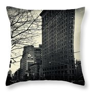 Flat Iron Building Fifth Avenue And Broadway Throw Pillow by Sabine Jacobs