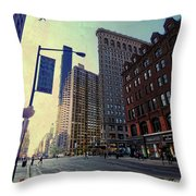 Flat Iron Building Poster Throw Pillow by Nishanth Gopinathan