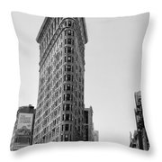 Flat Iron In Black And White Throw Pillow by Bill Cannon
