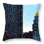 Flat Iron Nyc Throw Pillow