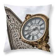 Flatiron And Clock Throw Pillow