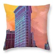 Flatiron Building At Sunset Throw Pillow